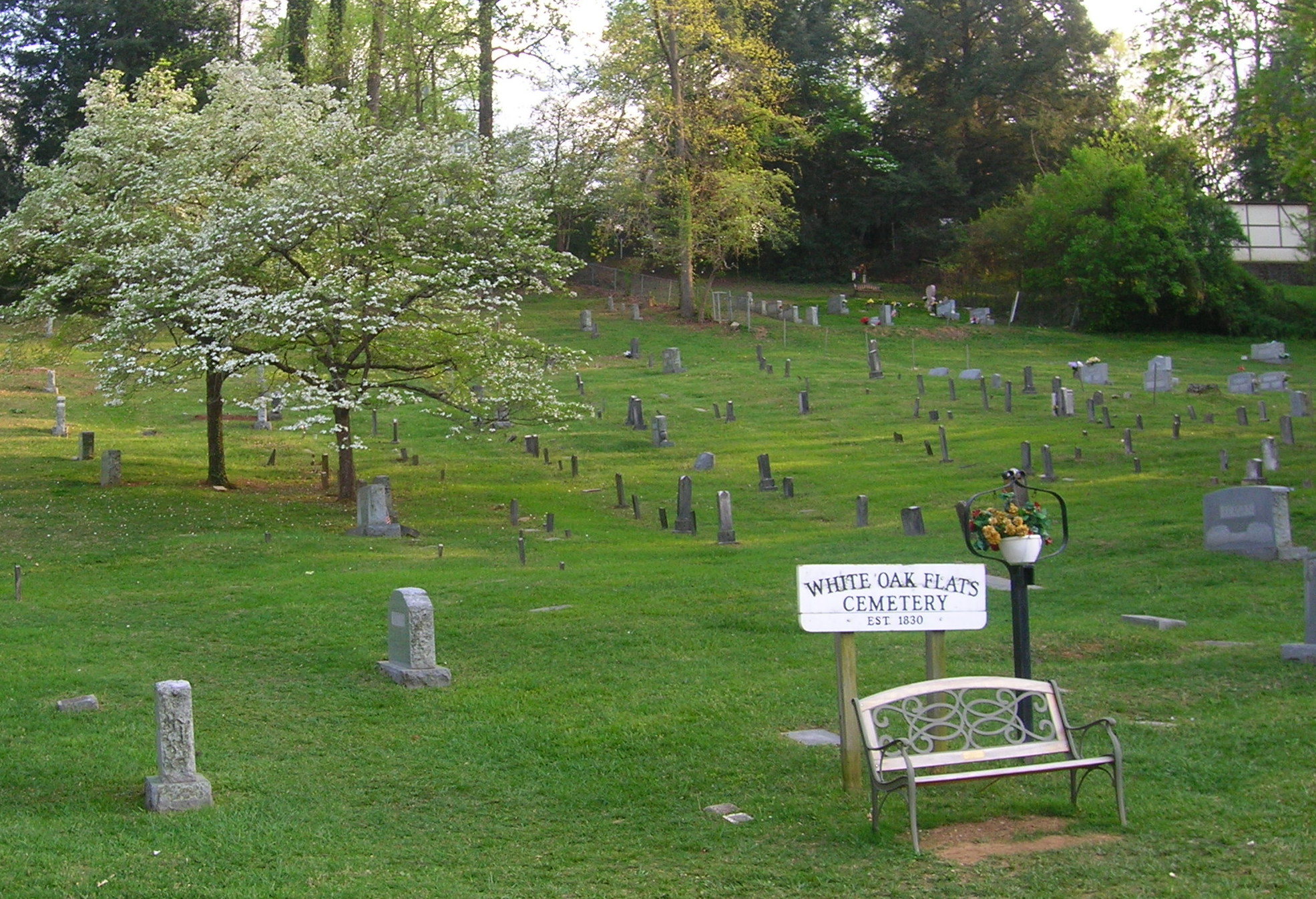 This daytime view of the White Oak Flats cemetery in Gatlinburg shows not one of the many ghosts and ghouls or tour will tell you about